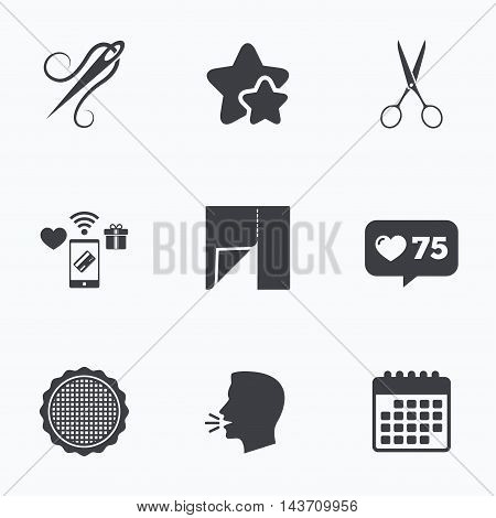 Textile cloth piece icon. Scissors hairdresser symbol. Needle with thread. Tailor symbol. Canvas for embroidery. Flat talking head, calendar icons. Stars, like counter icons. Vector