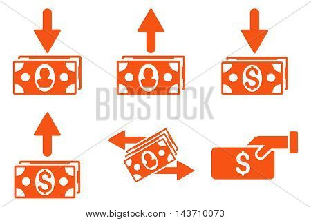 Pay Banknotes vector icons. Pictogram style is orange flat icons with rounded angles on a white background.