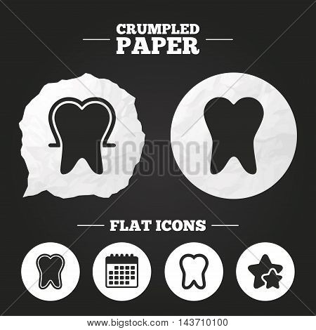 Crumpled paper speech bubble. Tooth enamel protection icons. Dental toothpaste care signs. Healthy teeth sign. Paper button. Vector
