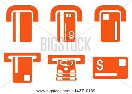 Payment Terminal vector icons. Pictogram style is orange flat icons with rounded angles on a white background.