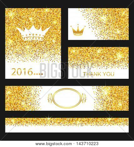 Illustration Collection of Gleam Cards. Decorative Golden Surfaces - Vector