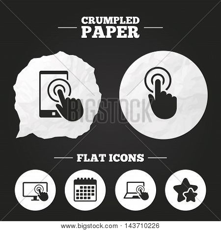 Crumpled paper speech bubble. Touch screen smartphone icons. Hand pointer symbols. Notebook or Laptop pc sign. Paper button. Vector