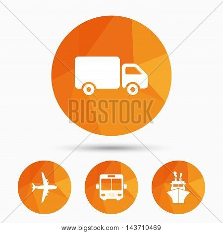 Transport icons. Truck, Airplane, Public bus and Ship signs. Shipping delivery symbol. Air mail delivery sign. Triangular low poly buttons with shadow. Vector