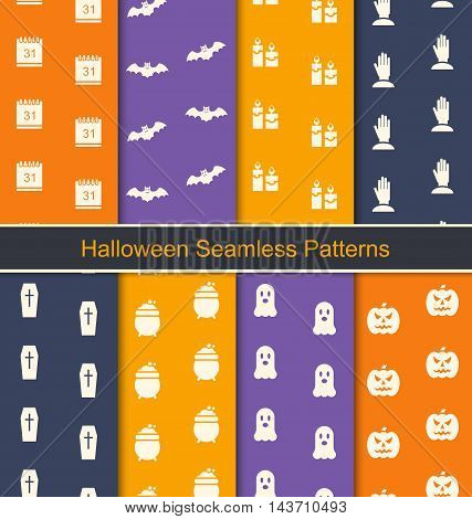 Illustration Set Seamless Textures with Halloween Symbols for Happy Holiday - Vector