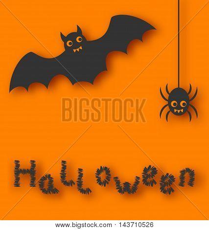 Illustration cartoon bat and spider on orange background - vector