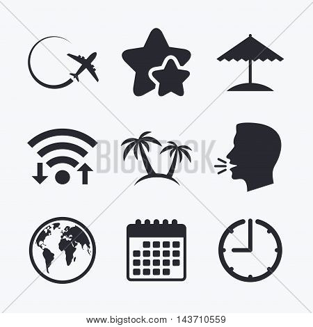 Travel trip icon. Airplane, world globe symbols. Palm tree and Beach umbrella signs. Wifi internet, favorite stars, calendar and clock. Talking head. Vector