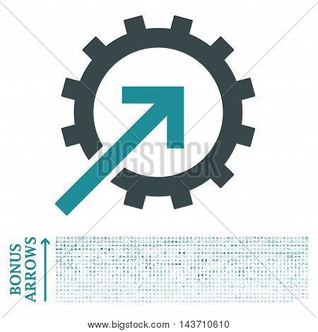 Cog Integration icon with 1200 bonus arrow and navigation pictograms. Vector illustration style is flat iconic bicolor symbols, soft blue colors, white background.