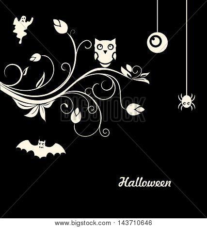 Illustration Halloween Flourish Dark Background with Owl, Ghost, Eye, Spider - Vector