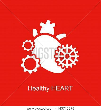 Heart as a mechanism made of cogs and gears. Vector Illustration EPS10.