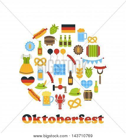 Illustration Oktoberfest Colorful Symbols in Round Frame, Isolated on White Background - Vector
