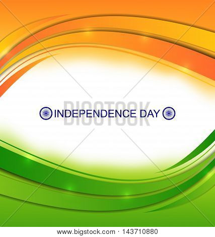 Illustration Colorful Wavy Background for Indian Independence Day - Vector