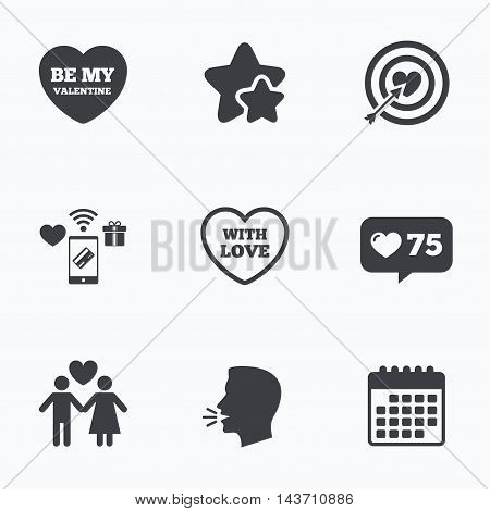 Valentine day love icons. Target aim with heart and arrow symbol. Couple lovers sign. Flat talking head, calendar icons. Stars, like counter icons. Vector