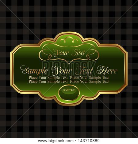 Illustration label decorative ornate gold frame - vector