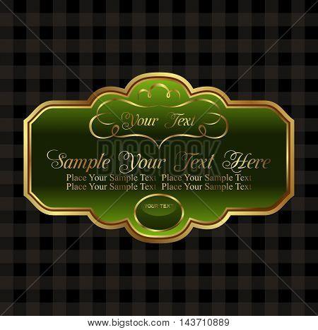 Illustration label decorative ornate gold frame - vector