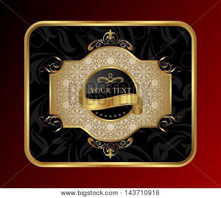 Illustration ornate label decorative golden frame - vector