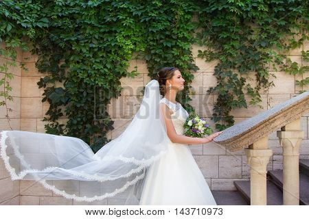 Stylish Bride in an expensive white dress