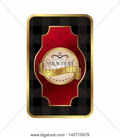 Illustration ornate label wine decorative golden frame - vector
