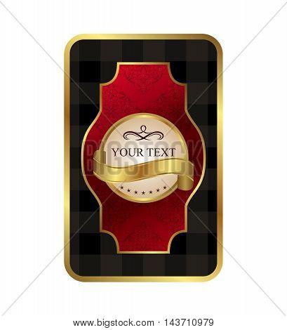 Illustration ornate label wine decorative golden frame - vector