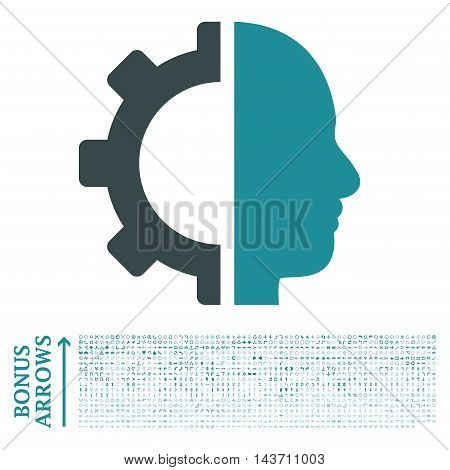 Cyborg Gear icon with 1200 bonus arrow and direction pictograms. Vector illustration style is flat iconic bicolor symbols, soft blue colors, white background.