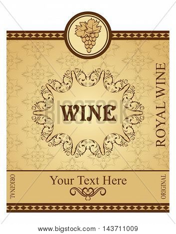 Illustration retro label packing for wine - vector