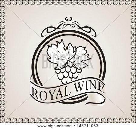 Illustration retro label for packing wine - vector