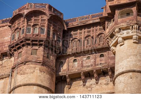 Mehrangarh fort close-up in Jodhpur, Rajasthan, India