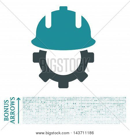 Development Helmet icon with 1200 bonus arrow and navigation pictograms. Vector illustration style is flat iconic bicolor symbols, soft blue colors, white background.