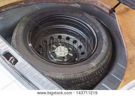 Old Spare wheels of the car for mainternance