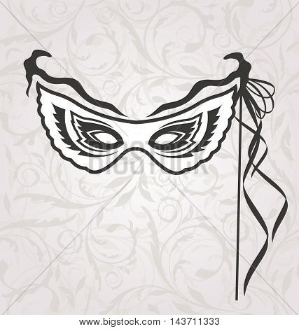 Illustration Venice Carnival or Theater Mask with Ribbons - Vector