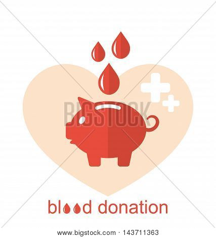 Illustration Concept Flat Medical Icons of Piggy Bank as Blood Donation - Vector
