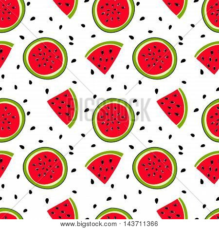 watermelon with seeds	Seamless pattern with sweet mellow  watermelon  bits and slices with seeds