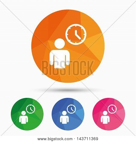 Person waiting sign icon. Time symbol. Queue. Triangular low poly button with flat icon. Vector