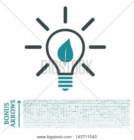 Eco Light Bulb icon with 1200 bonus arrow and navigation pictograms. Vector illustration style is flat iconic bicolor symbols, soft blue colors, white background.