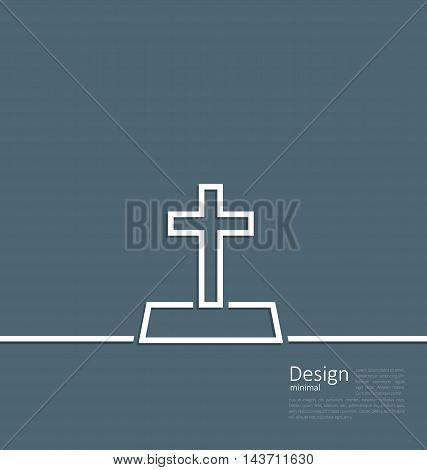 Illustration logo of gravestone in minimal flat style line - vector
