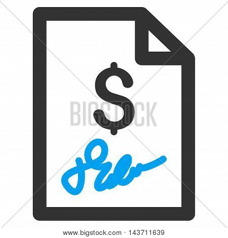 Invoice Page icon. Glyph style is bicolor flat iconic symbol with rounded angles, blue and gray colors, white background.