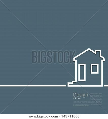 Illustration web template house logo in minimal flat style cleaness line - vector