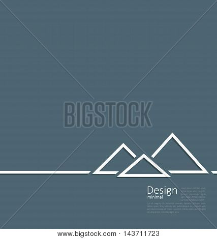 Illustration logo of egyptian pyramid, symbol of tourism, minimal flat style line - vector