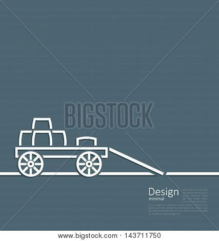 Freight wagon cartage loaded with wine casks, minimal design style - vector