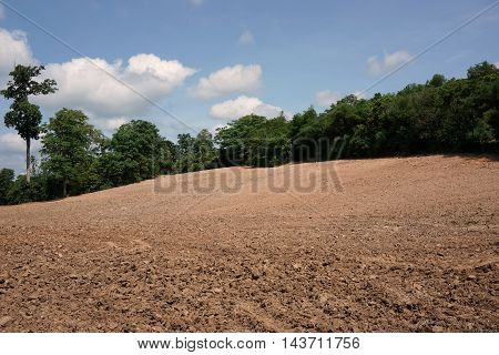 prepare soil cultivation in countryside at Thailand