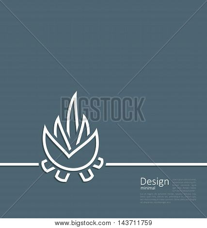 Illustration logo of bonfire, symbol of camping, simple flat style line - vector