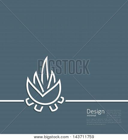 Illustration logo of bonfire, symbol of camping, simple flat style line - vector