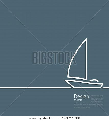 Illustration logo of sailboat in minimal flat style line - vector