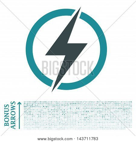 Electricity icon with 1200 bonus arrow and direction pictograms. Vector illustration style is flat iconic bicolor symbols, soft blue colors, white background.