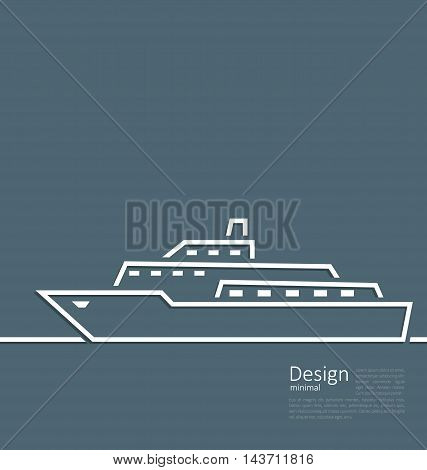 Illustration logo of ship in minimal flat style line - vector