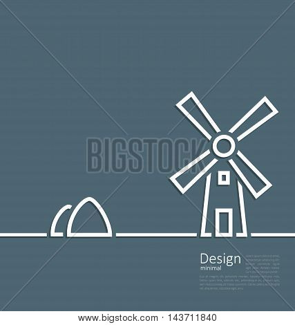 Illustration village landscape windmill haystack, design minimal line style - vector