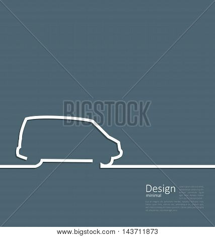 Laconic Design of Velocity Vehicle Car Minibus Cleanness Line Flat Template Corporate Style with Space for Text - Vector