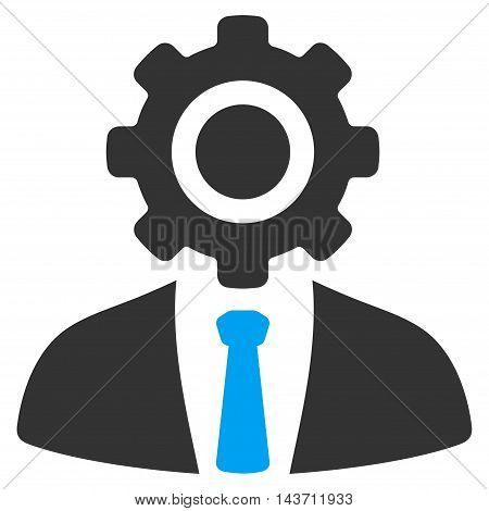 Worker icon. Glyph style is bicolor flat iconic symbol with rounded angles, blue and gray colors, white background.