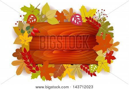 Wooden Sign With Autumn Leaves - Place For Text