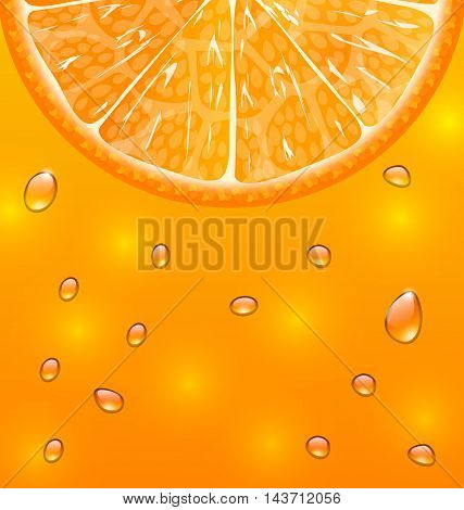 Illustration Orange Background with Slice and Drops - Vector