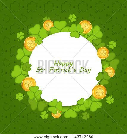 Illustration celebration card with shamrocks and golden coins for St. Patrick's Day - vector